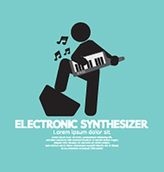 Musician Playing An Electronic Synthesizer vector image