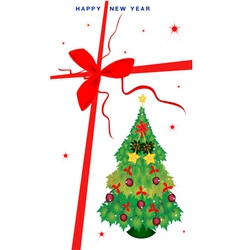 New year gift card with christmas tree vector