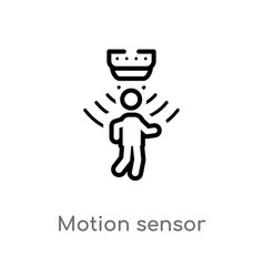 Outline motion sensor icon isolated black simple vector