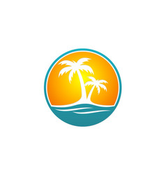 palm tree beach travel logo vector image