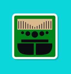 Paper sticker on stylish background music center vector