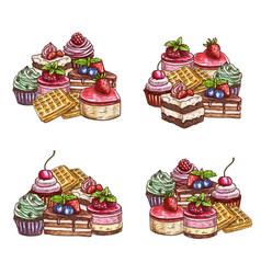 Patisserie cakes pastry sweet desserts sketch vector