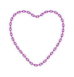 Purple chain in shape of heart vector