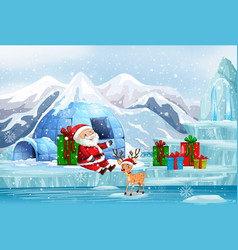 Scene with santa and present in cold winter vector
