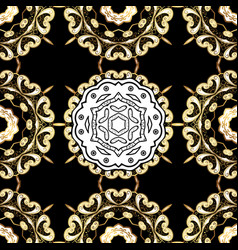 seamless vintage pattern on black colors with vector image