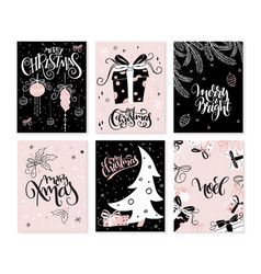 set of christmas greeting cards with hand vector image
