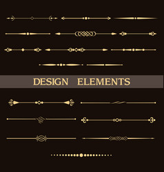 set vintage golden dividers vector image