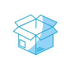 Silhouette open box to delivery innovation vector