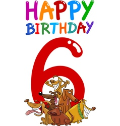 Sixth birthday anniversary card vector