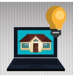 smart home with laptop computer isolated icon vector image