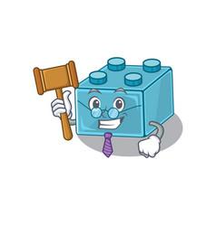 Smart judge lego brick toys in mascot cartoon vector