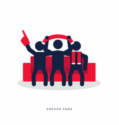 soccer or football fans with scarves on sofa vector image