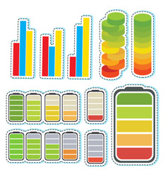 Sticker set with different levels of bars vector
