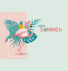 summer banner design flamingo and leaves vector image