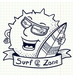 Sun character with surf vector