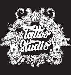 Tattoo studio handwritten trendy lettering with vector