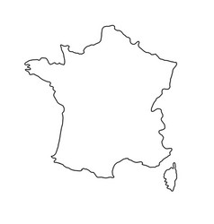 The france map of black contour curves of vector