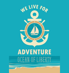 Travel banner with anchor sailboat and ships helm vector