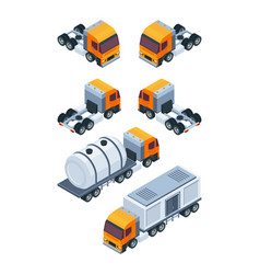 trucks isometric pictures of various freight and vector image
