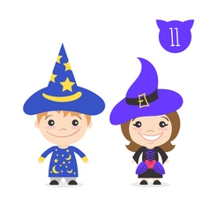 Two happy cute kids characters Boy in magician vector