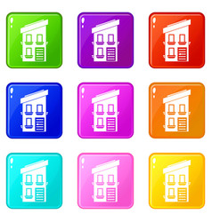 Two-storey house icons 9 set vector