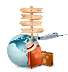 Two travel suitcases a plane a globe and a vector image
