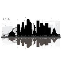 Usa city skyline black and white silhouette vector