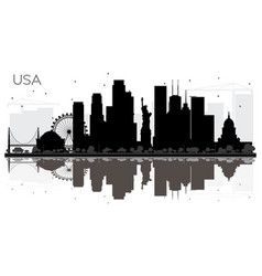Usa city skyline black and white silhouette with vector