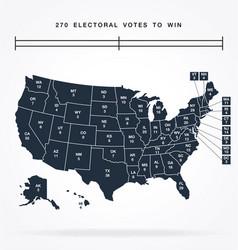 usa editable electorial college map vector image
