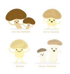 vegetable mushroom cartoon cute set vector image