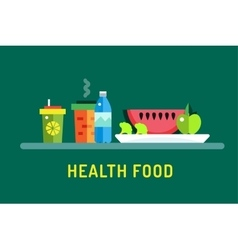 Vegetarian city food shop object icons Nature vector image