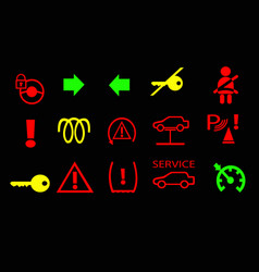 Vehicle instrument cluster warning lamps vector