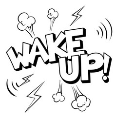 Wake up word comic book coloring vector