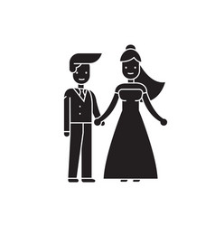 wedding couple black concept icon wedding vector image
