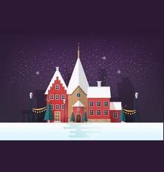 winter cityscape or urban landscape in snowy vector image