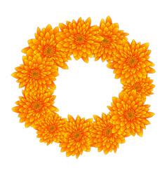 Yellow chrysanthemum wreath vector
