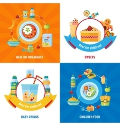 Baby food 4 flat icons square vector