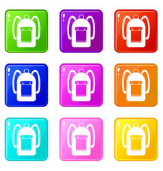 backpack icons 9 set vector image vector image