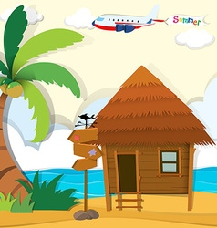 Cabin on the beach vector image vector image