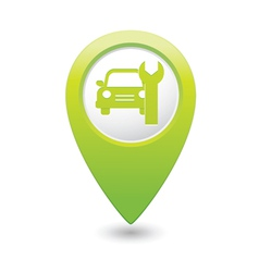 car service icon on green map pointer vector image vector image