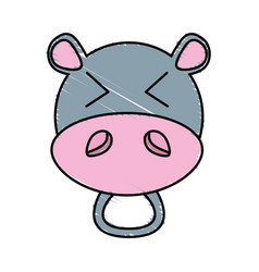 drawing hippo face animal vector image