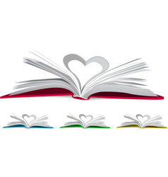 Heart from book pages vector image