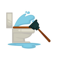 house plumbing toilet leakage or clogging plumber vector image vector image