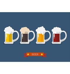 Set of glasses of light and dark beer vector image vector image