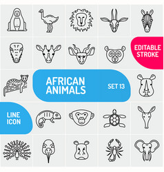 set of linear icons of african animals animals vector image