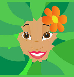 summer girl in the green leaves vector image