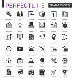black classic creative process web icons set vector image