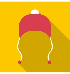 Red hat with pompom icon flat style vector