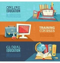 School Education Online Courses Banners Set vector image vector image