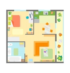 Apartment floor plan with furniture top view vector